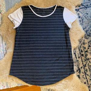 LULULEMON short sleeve Baseball Stripe Shirt 10 M3